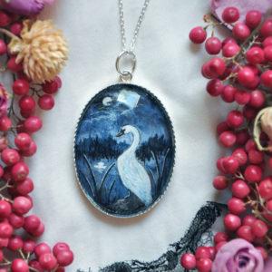Swan & Moonlight – Piece unique silver